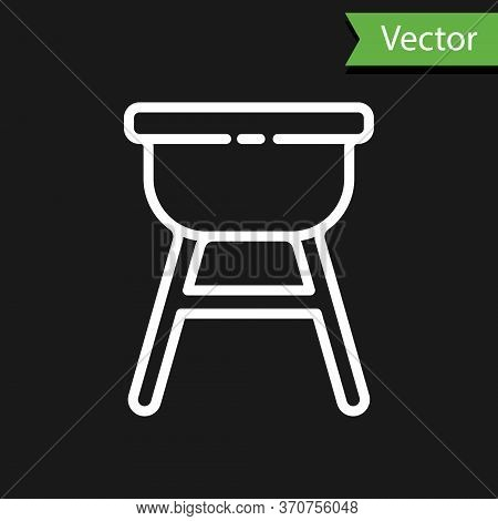 White Line Barbecue Grill Icon Isolated On Black Background. Bbq Grill Party. Vector Illustration