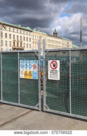 Gothenburg, Sweden - August 26, 2018: Construction Site Entrance In Gothenburg, Sweden. Gothenburg I