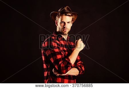 Wild West In His Heart. Cowboy In Country Side. Western. Western Cowboy Portrait. Man Checkered Shir
