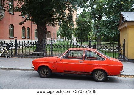 Stockholm, Sweden - August 22, 2018: Oldtimer Ford Escort Compact Car Parked In Stockholm, Sweden. T