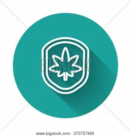 White Line Shield And Marijuana Or Cannabis Leaf Icon Isolated With Long Shadow. Marijuana Legalizat