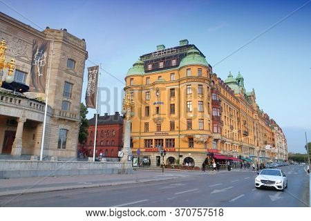 Stockholm, Sweden - August 22, 2018: Evening View Of Strandvagen Street In Stockholm City, Sweden. S