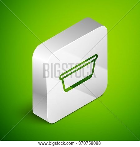 Isometric Line Plastic Basin Icon Isolated On Green Background. Bowl With Water. Washing Clothes, Cl