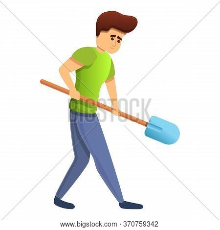 Boy Working Shovel Icon. Cartoon Of Boy Working Shovel Vector Icon For Web Design Isolated On White