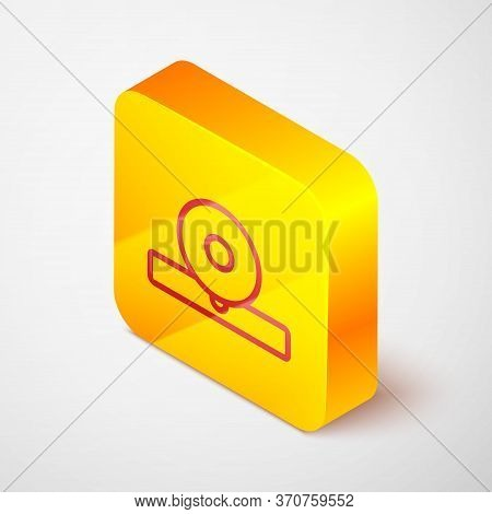 Isometric Line Otolaryngological Head Reflector Icon Isolated On Grey Background. Equipment For Insp