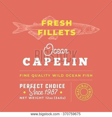 Fresh Fillets Premium Quality Label. Abstract Vector Fish Packaging Design Layout. Retro Typography