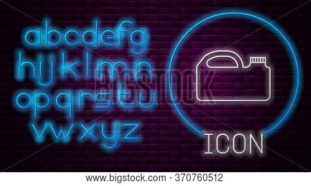 Glowing Neon Line Plastic Canister For Motor Machine Oil Icon Isolated On Brick Wall Background. Oil