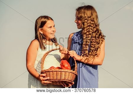 Eat Healthy. Summer Harvest Concept. Gmo Free. Eco Farming. Girls Happy Smiling Child Living Healthy