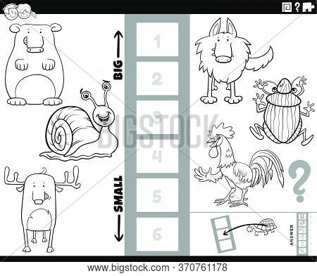 Black And White Cartoon Illustration Of Educational Game Of Finding The Bigest And The Smallest Anim