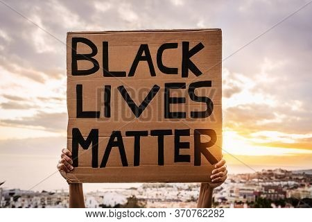 Black Lives Matter Banner - Activist Movement Protesting Against Racism And Fighting For Equality -