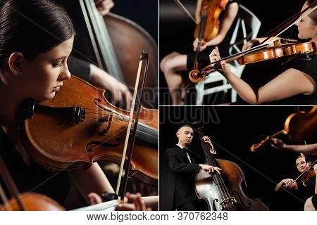 With Trio Of Professional Musicians Playing On Violins And Contrabass On Dark Stage