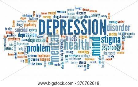 Depression Concepts Word Cloud. Mental Health Keywords Illustration.