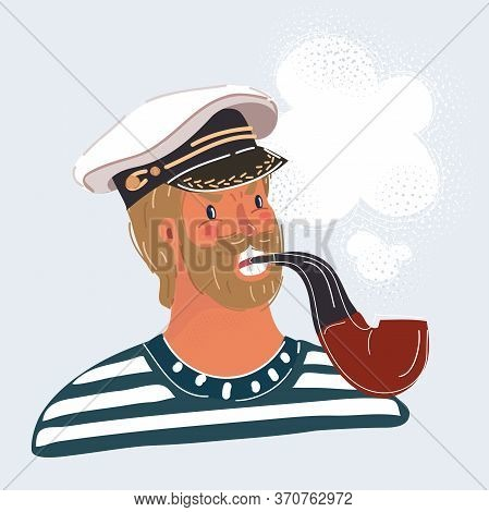 Sailor Man, Captain, Isolated On White Background. Seaman Face Smoke Tobacco Pipe