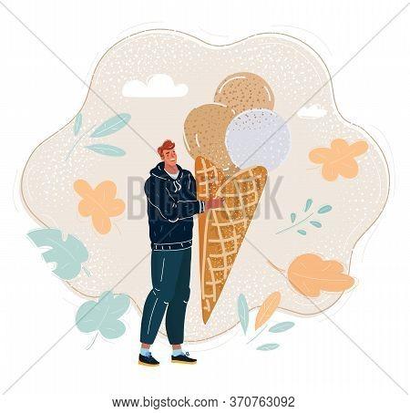 Vector Illustration Of Funny Man With Big Icecream