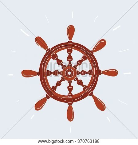 Vector Illustration Of Pirate Icon, Ship Helm On White.