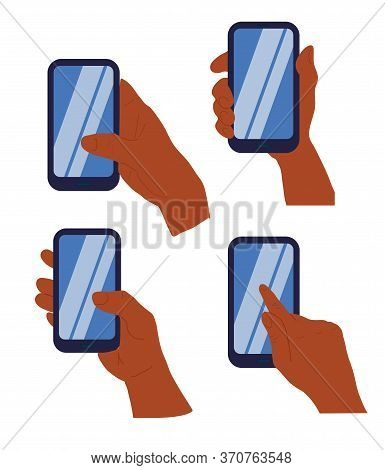 Phone In A Hand Of Black African Woman Isolated On White Background. Different Types Of Hand Holding