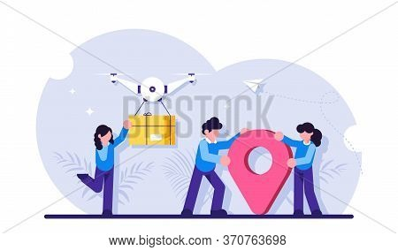 Drone Delivery Service Concept. Innovative Technology In Parcel Shipment. Girl Receives Parcel Near