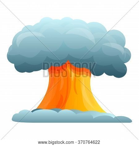 Atomic Explosion Icon. Cartoon Of Atomic Explosion Vector Icon For Web Design Isolated On White Back