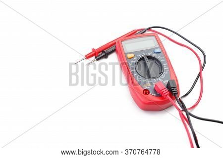 Electronic Digital Multimeter Isolated On White Background