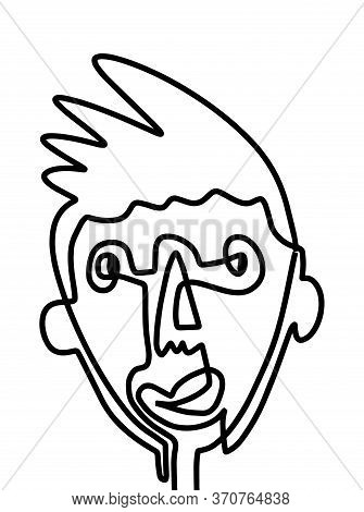 Modern Abstract Face Portrait. Linear Ink Brush. Line Art Current Contemporary Continuous Cubism Pai