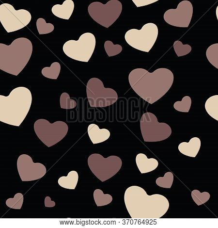 White And Black Hearts, Vector Seamless Pattern. African Americans And White People Against Racism,