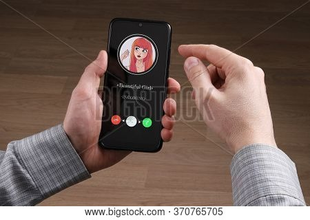 In The Hands Of A Person, A Smartphone Has An Incoming Call. He Decides To Answer Or Not. First-pers