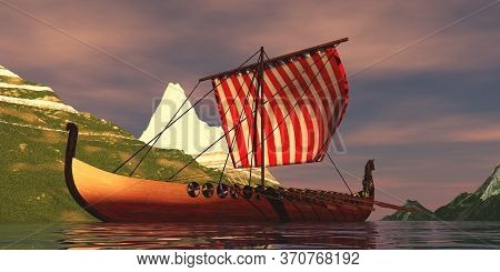 Viking Ship In Fjord 3d Illustration - Viking Men Sail Their Longboat Down A Narrow Channel Between