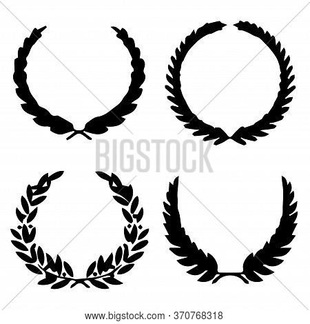 Collection Of Different Silhouette Circular Laurel Foliate, Wheat, Oak Wreaths Depicting An Award, A