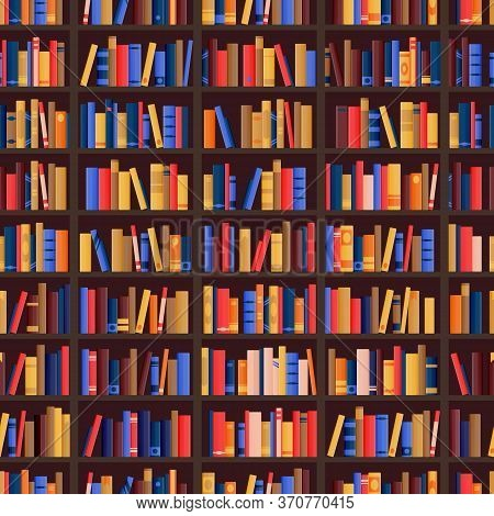 Bookshelf And Books Seamless Pattern. Vector Library Or Bookshop Background. Bookcase Shelves With E