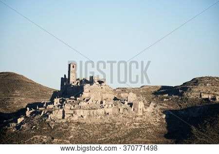 Ruins of Roden, a town destroyed during the Spanish Civil War, Zaragoza province, Aragon in Spain.