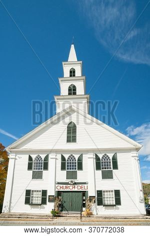 Newfane Usa - October 11 2014; In Design Style Of Union Hall, The Greek Revival Character Of The Fir