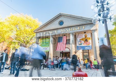 Boston Usa - October 13 2014; Quincy Market Hall In Faneuil Hall Marketplace An Historic And Popular