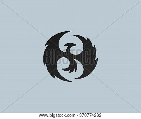 Flying Dragon Logo Design Template. Abstract Mythical Animal Design Vector Icon Mark Logotype Templa