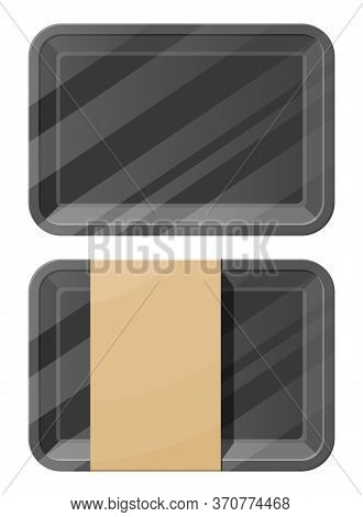 Mockup Template Polystyrene Tray Container. Empty Plastic Food Container Or Box. Ready For Your Desi