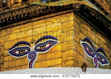 Buddha Eyes Painted On The Top Of A Stupa, A Richly Decorated Temple, And Monkey In Kathmandu. The E