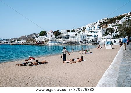 Mykonos Greece Island With Whitewashed Building At The Streets Of Little Venice Mykonos