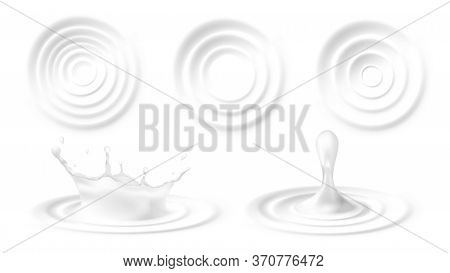 Set Ripples On Water Or Milk Surface, Realistic Vector Illustration Isolated.