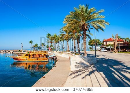 Boats At The Pier In Side Town, Situated In Antalya Region On The Southern Mediterranean Coast Of Tu