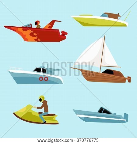Speed Motorboat Icons Set, Flat Vector Illustration Isolated On Blue Background.
