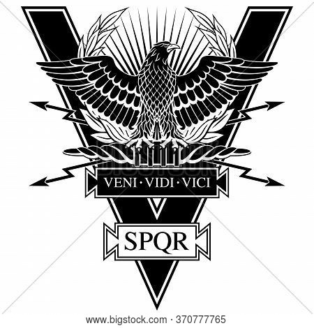 Roman Eagle With The Words Of Caesar's Veni, Vidi, Vici (i Came, I Saw, I Conquered) And S.p.q.r. -