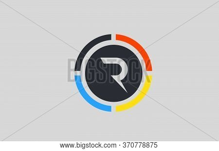 Yellow Orange Blue R Alphabet Letter Logo For Business And Company With Circle Design