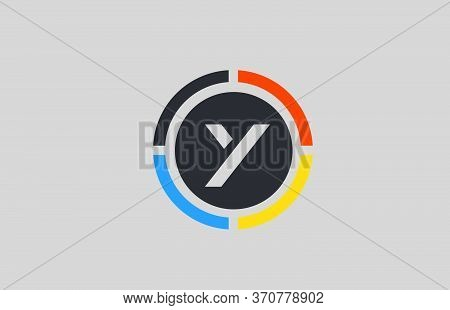 Yellow Orange Blue Y Alphabet Letter Logo For Business And Company With Circle Design