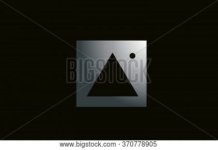Grey Metal A Alphabet Letter Logo For Business And Company With Square Design. Metallic Template For