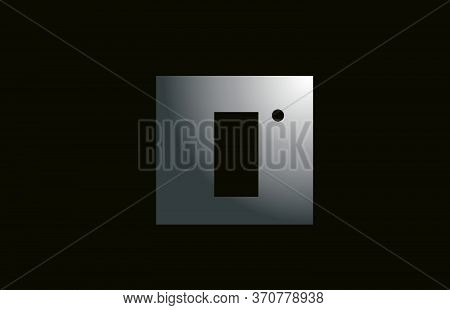 Grey Metal I Alphabet Letter Logo For Business And Company With Square Design. Metallic Template For