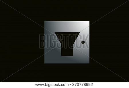 Grey Metal Y Alphabet Letter Logo For Business And Company With Square Design. Metallic Template For