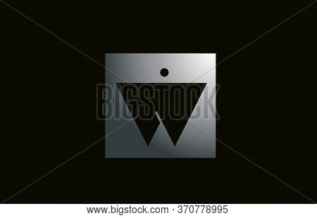 Grey Metal W Alphabet Letter Logo For Business And Company With Square Design. Metallic Template For