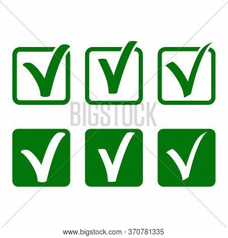 Vector Tick Signs Set On White Background