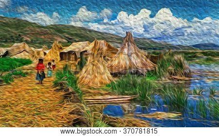 Indigenous People At The Uros Village With Huts And Alleys On Floating Islands Made Of Totora Reeds