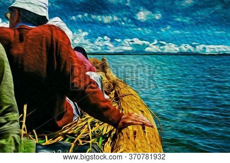Tourists Taking A Ride On A Typical Boat Made Of Totora Reeds In The Lake Titicaca. A Large And Deep