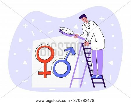 Vector Flat Illustration Doctor Standing On Staircase And Looking Through Magnifying Glass At Abstra